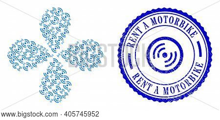 Air Cooler Rotation Explosion Flower Shape, And Blue Round Rent A Motorbike Textured Stamp With Icon