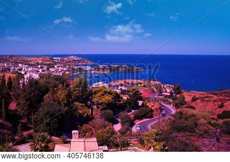Crete Or Kreta Island, Greece: Wide Angle Shot Of A Roads In Heraklion City In Crete Island Against