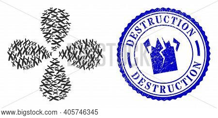 Chromosome Rotation Motion, And Blue Round Destruction Corroded Stamp Imitation With Icon Inside. Ob