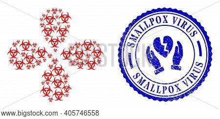Biohazard Exploding Abstract Flower, And Blue Round Smallpox Virus Textured Seal With Icon Inside. E
