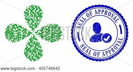 Apply Tick Rotation Flower With Four Petals, And Blue Round Seal Of Approval Corroded Stamp Seal Wit