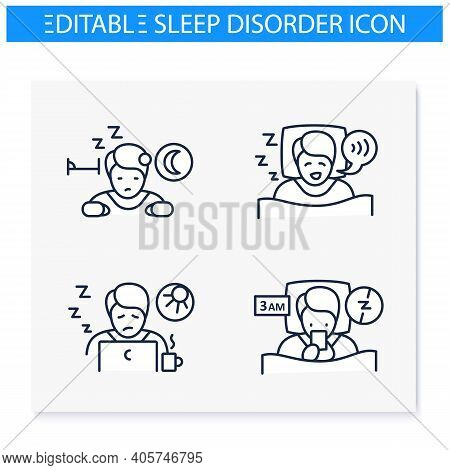 Sleep Disorder Line Icons Set. Healthy Sleeping Concept. Different Types Of Sleep Disorders. Falling