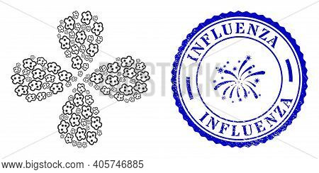 Amoeba Rotation Flower Cluster, And Blue Round Influenza Corroded Stamp Imitation With Icon Inside.