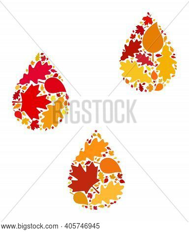 Water Drops Mosaic Icon Done For Fall Season. Raster Water Drops Mosaic Is Composed Of Random Fall M