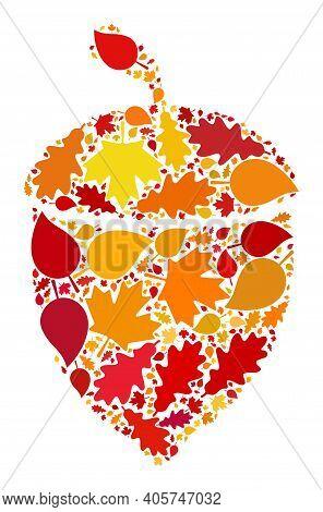 Oak Acorn Mosaic Icon Done For Fall Season. Raster Oak Acorn Mosaic Is Formed With Random Autumn Map