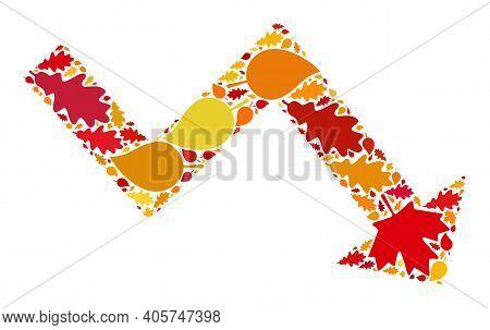 Recession Arrow Mosaic Icon Organized For Fall Season. Raster Recession Arrow Mosaic Is Organized Fr