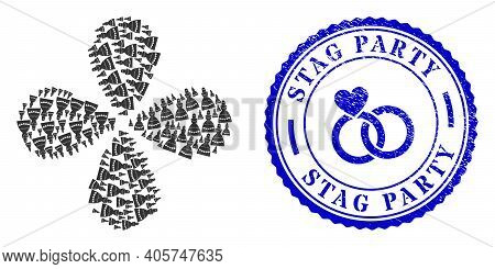 Muslim Bride Centrifugal Flower Shape, And Blue Round Stag Party Textured Stamp Seal With Icon Insid