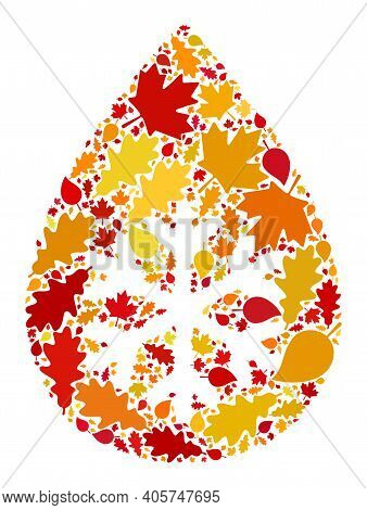 Snow Fresh Drop Mosaic Icon Designed For Fall Season. Raster Snow Fresh Drop Mosaic Is Designed From