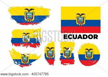 Flag Of Ecuador, Republic Of Ecuador. Template For Award Design