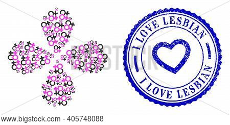 Lesbian Couple Symbol Rotation Flower With Four Petals, And Blue Round I Love Lesbian Corroded Stamp