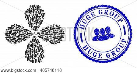 Mask People Group Centrifugal Motion, And Blue Round Huge Group Unclean Stamp With Icon Inside. Obje