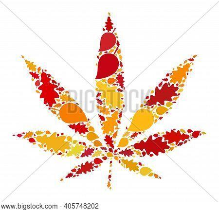 Cannabis Mosaic Icon Designed For Fall Season. Raster Cannabis Mosaic Is Shaped Of Random Autumn Map