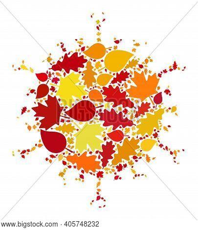 Flu Virus Mosaic Icon Designed For Fall Season. Raster Flu Virus Mosaic Is Organized Of Random Fall