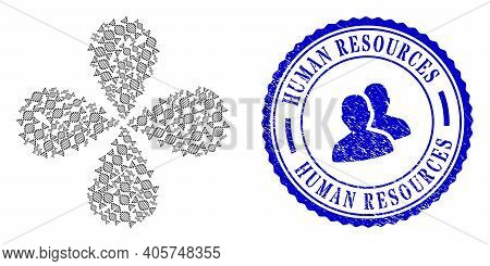 Dna Molecule Twirl Flower Cluster, And Blue Round Human Resources Corroded Stamp Print With Icon Ins