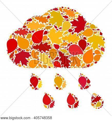 Rain Cloud Mosaic Icon Designed For Fall Season. Raster Rain Cloud Mosaic Is Shaped From Random Autu