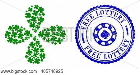 Lucky Clover Leaf Rotation Flower Cluster, And Blue Round Free Lottery Scratched Stamp With Icon Ins