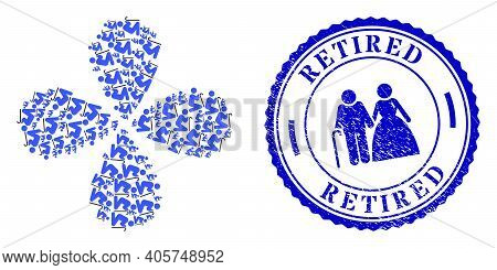 Grandfather Pray Swirl Flower Shape, And Blue Round Retired Grunge Stamp Imitation With Icon Inside.