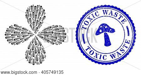 Dead Fish Explosion Burst, And Blue Round Toxic Waste Grunge Badge With Icon Inside. Object Flower C