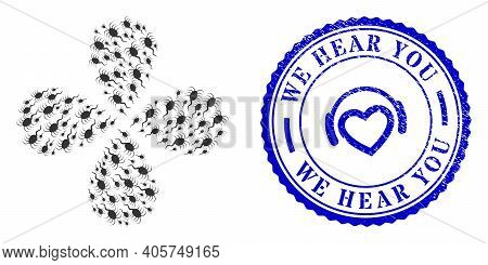 Infection Microbe Curl Flower With Four Petals, And Blue Round We Hear You Dirty Stamp With Icon Ins
