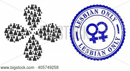 Female Dress Centrifugal Flower Cluster, And Blue Round Lesbian Only Rubber Watermark With Icon Insi
