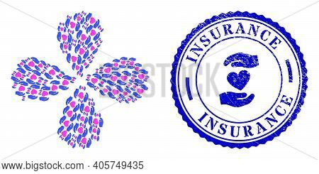 Favourite Heart Care Hands Swirl Flower With Four Petals, And Blue Round Insurance Scratched Stamp W