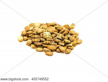 Top View Pile Of Bitter Melon Momordica Charantia Seeds Isolated On White Background