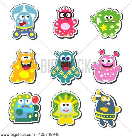 Funny Cartoon Monsters Set Isolated Vector Illustration