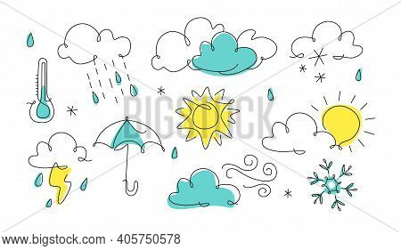 Weather Icon In Line Art. One Line Style Forecast Illustration, Continuous Line. Art Outline. Cloud,
