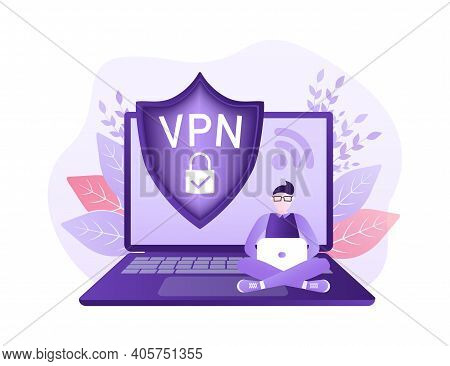 Secure Vpn Connection Concept. Virtual Private Network Connectivity Overview. Safety Internet Techno