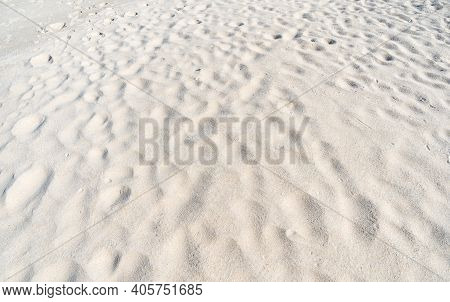 Natural Texture Of Sand Beach With Wave Curve Of Sand On Beach In Sunny Day Image For Nature Travel