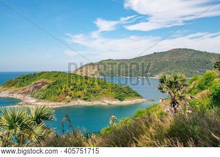 Beautiful Small Island In The Tropical Sea Near Laem Promthep Cape In Phuket Thailand,amazing Archip