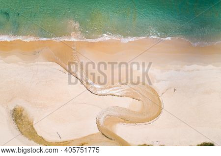 Aerial View Top Down Of Curve River And Coast Line In Summer Day.