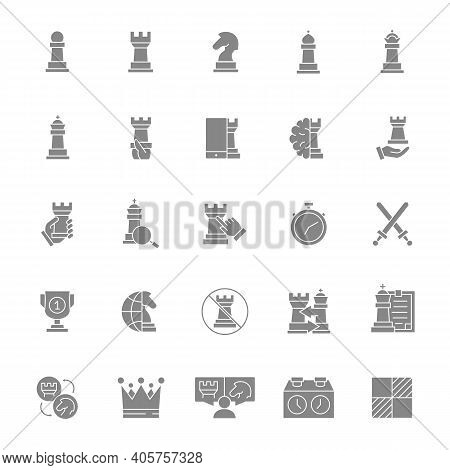 Set Of Chess Gray Icon. Board Game, King, Queen, Bishop, Pawn, Rook, Knight And More.