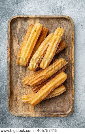 Churros With Chocolate, Traditional Spanish Cusine, On Gray Background, Top View Flat Lay