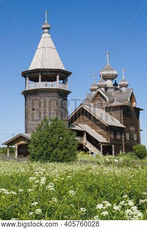 Bell Tower And Church Of Dmitry Solunsky Myrrh-streaming On A Sunny June Day. Shcheleiki Village. Le