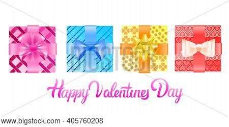 Set Colorful Wrapped Gift Boxes With Bows Valentines Day Celebration Concept Horizontal Vector Illus
