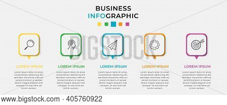 Business Infographic Design Template Vector With Icons And 5 Five Options Or Steps