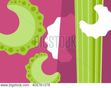 Abstract Vegetable Design In Flat Cut Out Style. Sliced Celery On Purple Background. Vector Illustra