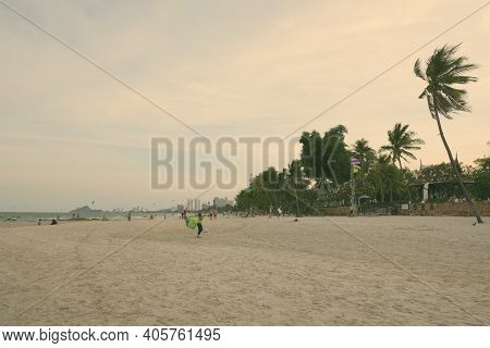 Hua Hin, Thailand - February 25, 2017- Scenic View Of The Beach Near Centara Grand Beach Resort With