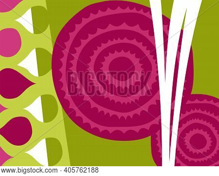 Abstract Vegetable Design In Flat Cut Out Style. Cross Section Of Beets. Vector Illustration.