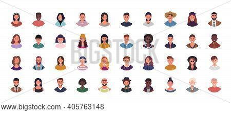 Set Of Various People Avatars Vector Illustration. Multiethnic User Portraits. Different Human Face