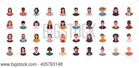 Set Of Various People Avatars Vector Illustration. Multiethnic User Portraits. Different Human Face