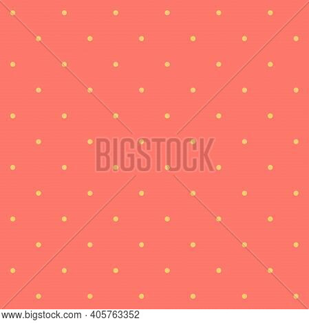 Seamless Pattern Yellow Dot On A Bittersweet Orange-pink Background. The Ordered Arrangement Of A Ge
