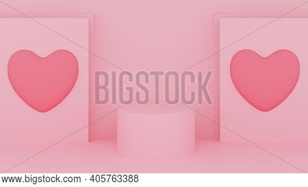 Circle Podium Pink Pastel Color With Pink Heart And Pink Background. Valentine's Day Concept. Mock-u