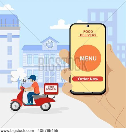 Vector Illustration Concept For Online Ordering Of Food. Online Delivery Service Concept, Online Ord