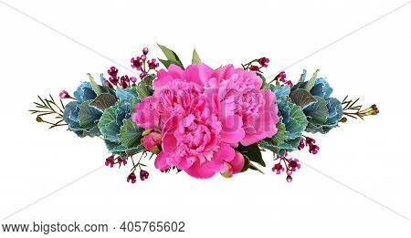 Ornamental Kales And Pink Peony Flowers In A Floral Line Arrangement Isolated On White. Decorative C