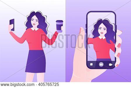 Girl, Making Selfie For Social Media On Her Smartphone. Selfie, Great Design For Any Purposes. Smart