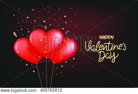 Vallentines Day Vector Logo Design With Balloons
