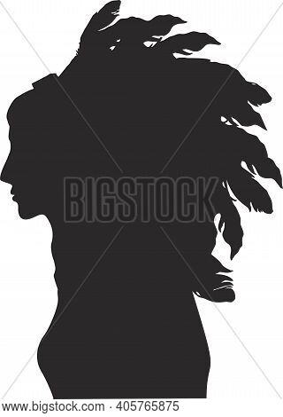 American Indian Girl In Profile. Silhouette. A Young Girl In A Native American Costume And A Feather