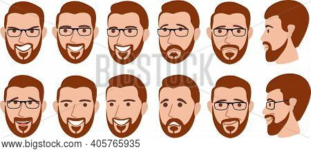 Bearded Man With Different Facial Expressions Set Vector Illustration. Set Of Different Emotions Mal